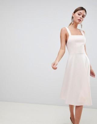 Asos Design DESIGN square neck midi prom dress-Pink