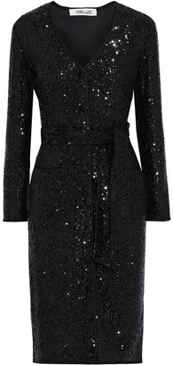 Diane von Furstenberg Melina Belted Sequined Stretch-mesh Dress