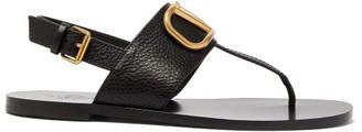 Valentino V-logo Flat Leather Slingback Sandals - Womens - Black