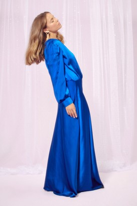 Nasty Gal Womens Party at the Back Satin Maxi Dress - Cobalt