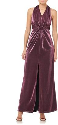 Halston Halter Neck Metallic Knit Gown