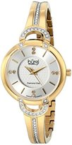 Burgi Women's BUR105YG Yellow Gold Swiss Quartz Watch with Silver Dial and Silver Crystal Accented Bracelet