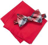 Alfani Men's Hudson Plaid Pre-Tied Bow Tie & Pocket Square Set, Only at Macy's