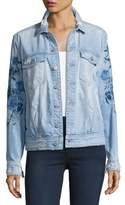 7 For All Mankind Distressed Boyfriend Jacket W/Blue Roses, Indigo
