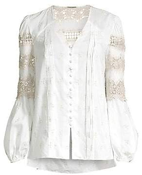 b8d627bfcc00a6 Elie Tahari Women's Leigha Embroidered Lace Eyelet Marie Sleeve Blouse