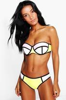 Boohoo Lisbon Mesh Overlay Colour Block Bikini Set