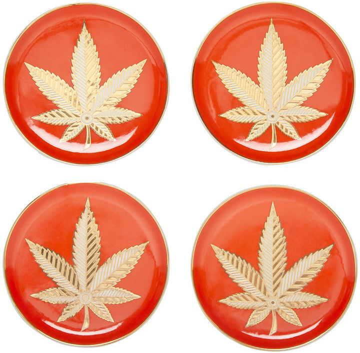 Jonathan Adler Hashish Coasters - Set of 4 - Orange/Gold