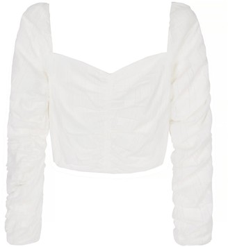 Berta Cabestany Sofia Ruched Long Sleeves Crop Top