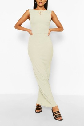 boohoo Scoop Back Rib Maxi Dress