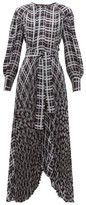 Proenza Schouler Checked Pleated Asymmetric Crepe Dress - Womens - Blue Multi