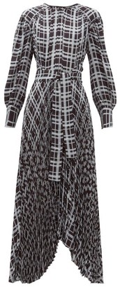 Proenza Schouler Checked Pleated Asymmetric Crepe Dress - Blue Multi
