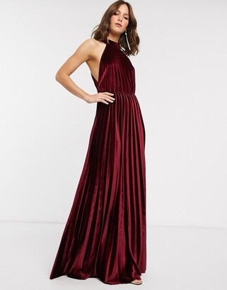 Asos Design DESIGN halter pleated waisted maxi dress in velvet-Red