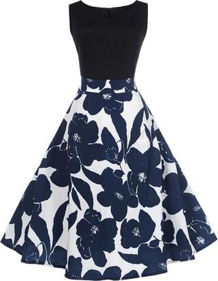 Pingtr Women Ball Gown Dress Ladies Sleeveless Floral Elegant Vintage Tea Hepburn Dress (L)