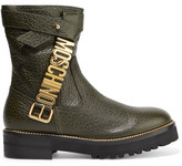 Moschino Embellished Textured-Leather Boots