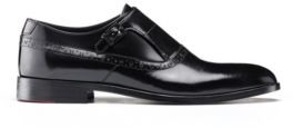 HUGO BOSS - Logo Trimmed Monk Shoes In Brush Off Leather - Black