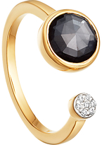 Missoma 18ct Gold Vermeil Double Orbit Hematite and Zircon Pave Ring, Gold/Black