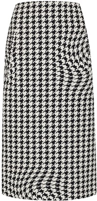 Off-White Houndstooth-Print Pencil Skirt