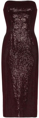 HANEY Martina strapless sequin midi dress