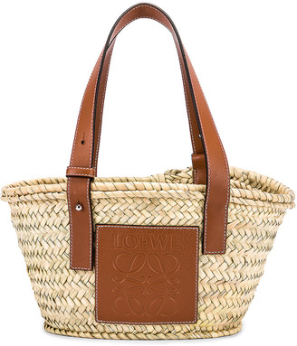 Loewe Basket Small Bag in Natural & Tan | FWRD
