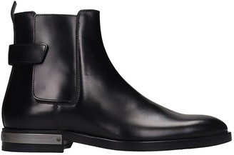 Balmain Pete Low Heels Ankle Boots In Black Leather