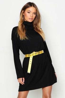boohoo Turtleneck Ribbed Long Sleeve Mini Dress