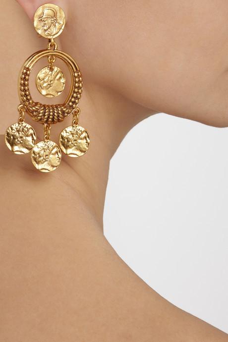Oscar de la Renta Gold-plated coin clip earrings