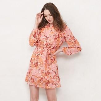 Lauren Conrad Women's Ruffle Button Front Mini Dress