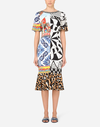 Dolce & Gabbana Calf-Length Patchwork-Print Charmeuse Dress