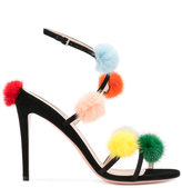 Fendi pom pom sandals - women - Chamois Leather/Leather/Mink Fur - 36