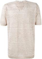 Paolo Pecora buttoned neck T-shirt - men - Linen/Flax - L