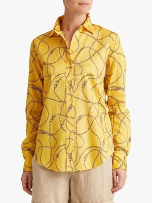 Ralph Lauren Ralph Jamelko Long Sleeve Chain Print Cotton Shirt, Dandelion Field Yellow