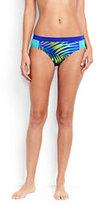 Classic Women's Mid Waist Bikini Bottoms-Blue Tropical/Electric Blue