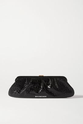 Balenciaga Cloud Xl Printed Croc-effect Leather Clutch - Black