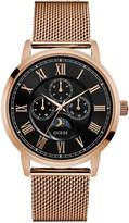 GUESS Men's Rose Gold-Tone Mesh Bracelet Watch 44mm U0871G5