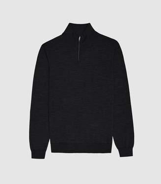 Reiss Blackhall - Merino Wool Zip Neck Jumper in Charcoal
