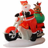 Asstd National Brand 6.5' Inflatable Santa Claus On Motorcycle LightedYard Art