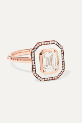 Selim Mouzannar Mina 18-karat Rose Gold, Enamel And Diamond Ring