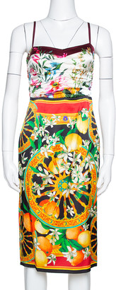 Dolce & Gabbana Multicolor Floral Lemon Print Silk Satin Sheath Dress S