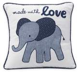 "Lambs & Ivy Elephant ""Made with Love"" Square Throw Pillow in Indigo"