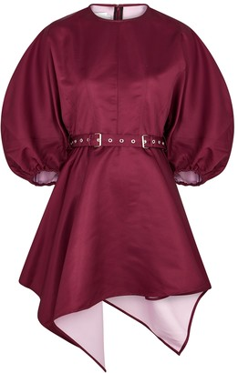 Marques Almeida Burgundy Belted Twill Mini Dress