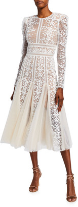 Bronx and Banco Megan Long-Sleeve Lace Overlay Midi Godet Dress