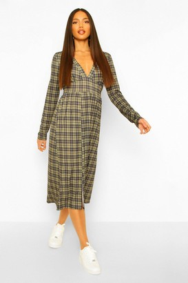 boohoo Tall Woven Long Sleeve Check Print Midi Dress