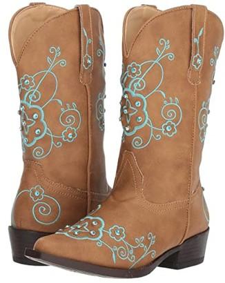 Roper Flower Sparkles (Toddler/Little Kid) (Tan Faux Leather Vamp & Shaft) Cowboy Boots