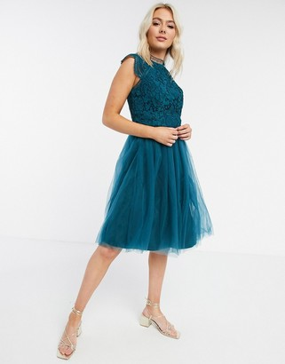 Chi Chi London high neck skater midi dress in teal