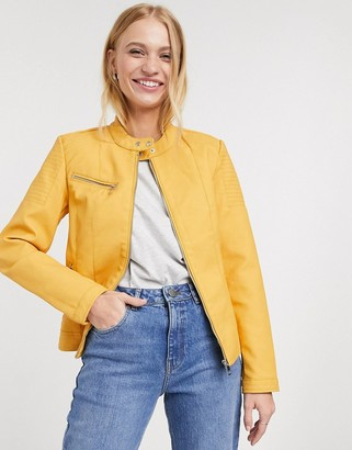 Only melanie faux leather biker jacket in yellow