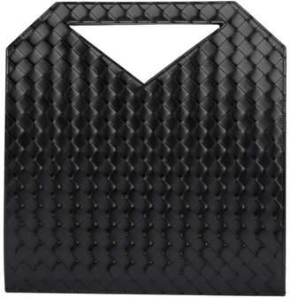 Bottega Veneta Black Medium Intrecciato Flat Tote