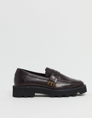 ASOS DESIGN Mistie chunky square toe loafers in burgundy