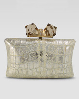 Judith Leiber Overture Vanessa Large Embossed Concave Clutch Bag, Gold