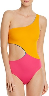 Solid & Striped The Claudia Reversible One-Shoulder Cutout One Piece Swimsuit