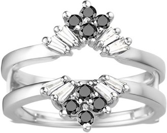 Twobirch Black and White Cubic Zirconia Mounted in Sterling Silver V Shaped Round and Tapered Baguette Ring Guard (0.56ctw)